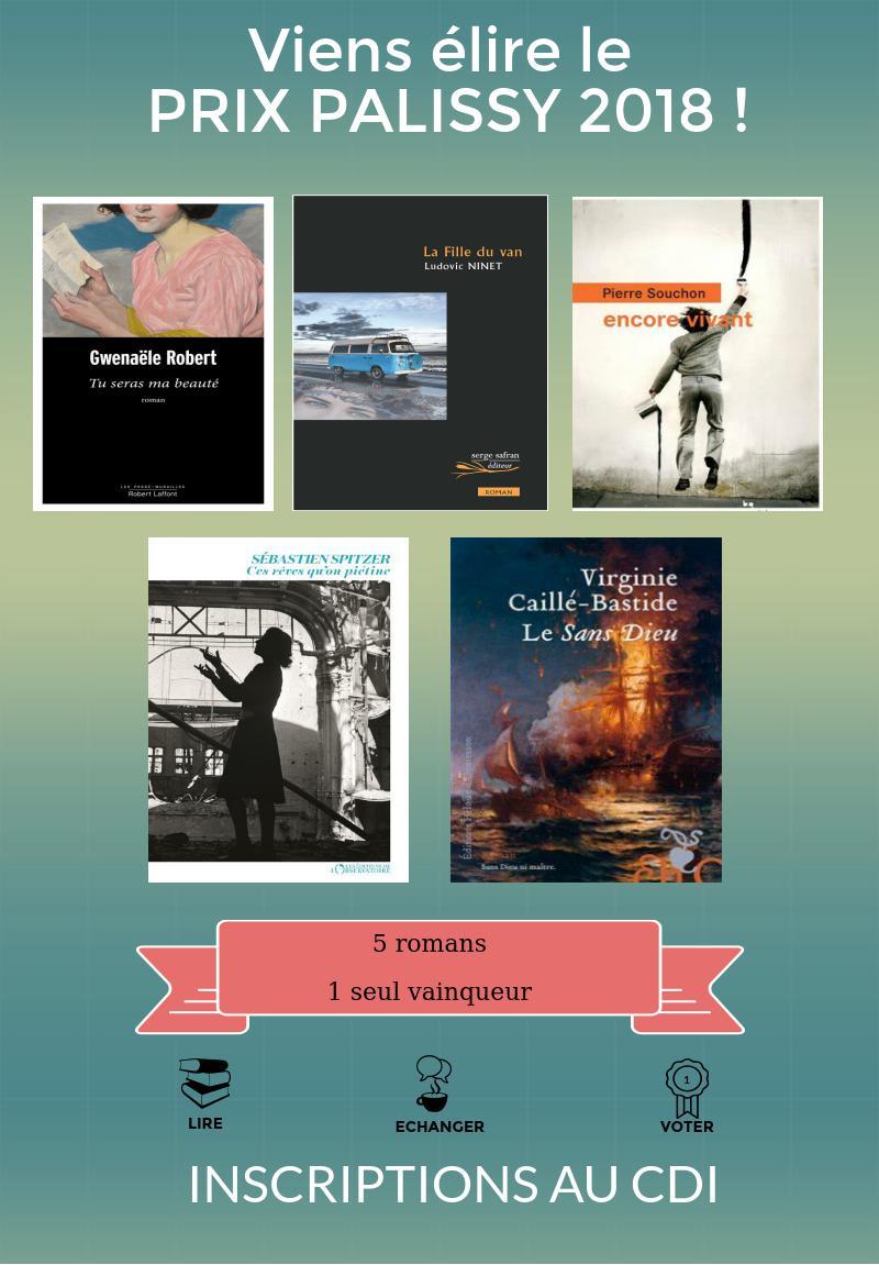 Affiche prix palissy 2017 5 romans